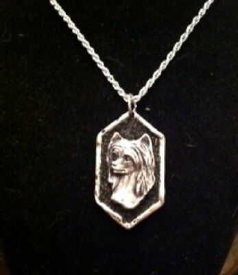 Chinese Crested Dog DRUZY  necklace...lovely headstudy...