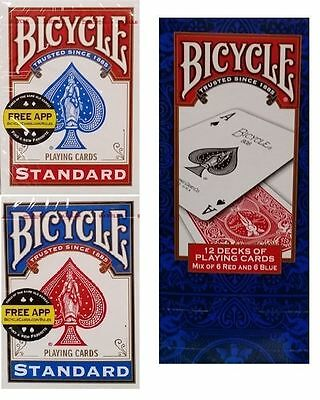 BICYCLE Playing Cards Red & Blue 12 Deck Pack BNIB