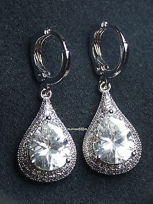 Excellent 8ct Diamond Drop Earrings 18k White Gold