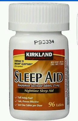Kirkland Sleep Aid Doxylamine Succinate 25mg 96 Tablets Per Bottle Sleeping Pill