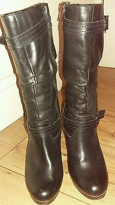 New Look Black Leather Boots, Size 5