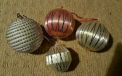 Vintage Christmas Decorations Tree Baubles Art Deco White and Pink