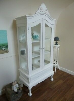 French Shabby Chic Two Door Display Cabinet In Cream