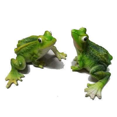 Two Frog  Resin Statue Crown Figurine Animal Amphibian Handmade Craft
