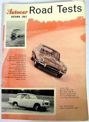 Autocar Road Tests Autumn 1961 FORD, JAGUAR, JENSEN, ALFA ROMEO, etc