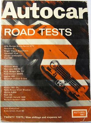 Autocar Road Tests Autumn 1967 ALFA ROMEO, FIAT, TRIUMPH, JENSEN, VAUXHALL etc