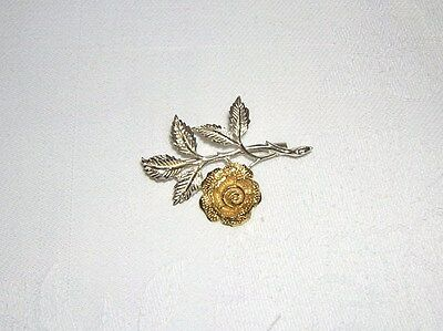 BEAUTIFUL FLORAL TWO TONED SILVER BROOCH 5.9g NOT SCRAP - EXCELLENT