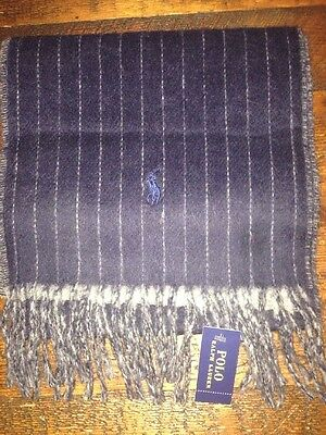 Nwt Polo Ralph Lauren Navy Blue Gray Striped Italian Wool Fringe Scarf Mens Pony