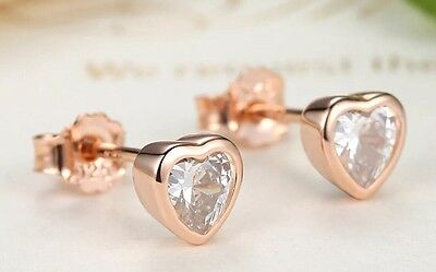 925 Silver Looks Like Pandora Love Heart Stud Earrings Rose Gold Plated Boxed