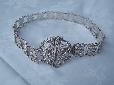 Rare Edwardian HM Silver Nurses Belt - Collins & Cook Birmingham 1902 + buckle