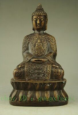 Hand Hammered Bless Collectable Chinese Brass Old Amulet Buddha Statue