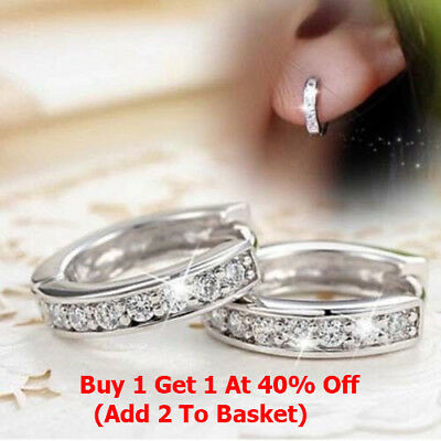 925 Crystal  Sterling Silver Stud Hoop Earrings Fashion Women Jewelry UK Seller
