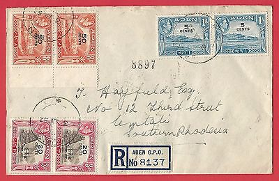 Aden Cover with 1951 Overprints. Cover to Umtali Southern Rhodesia