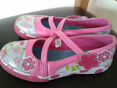 girls pink colourful party shoes Clarks size 1.5