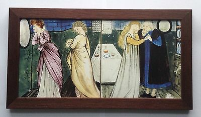 William Morris & Burne Jones Beauty & The Beast Framed 2 Tile Panel Hand Made
