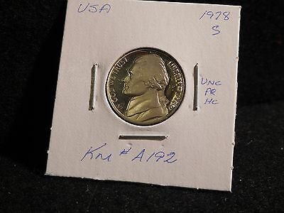 United States: 1978 S  Jefferson  Nickel  Coin Proof  (Unc.)  (#112) Km # A192