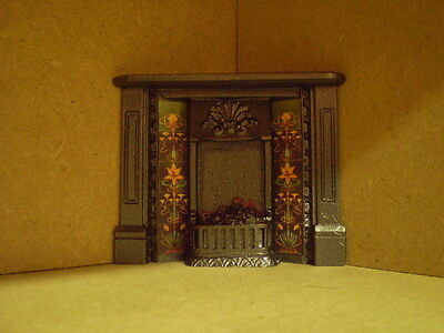 Dolls house miniature 1/12th scale Victorian lit corner fireplace F5C