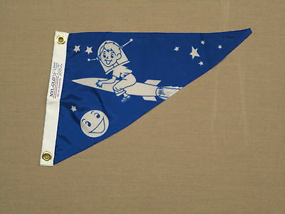 "Rocket Boy Moon Blue Boating Indoor Outdoor Nylon Pennant Grommets 10"" X 15"""