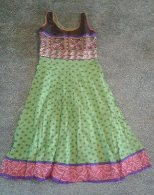 Women's Indian dress size 10/12 green pink purple party wedding bollywood • EUR 10,93