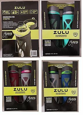 ZULU High Performance Glass Water Bottles 2 Pack Sports Fitness BNIB