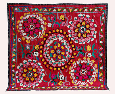 Old Uzbek Hand Embroidered Silk On Cotton Old Suzani Of Baysun Set-40