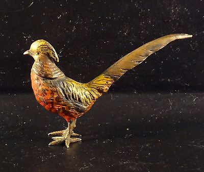 Antique Cold Painted Vienna Viennese Bronze Pheasant Figure Or Sculpture See