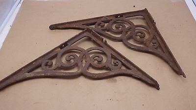 2 Antique Ornate Cast Iron Metal Shelf Brace Bracket ARCHITECTURAL SALVAGE  #3