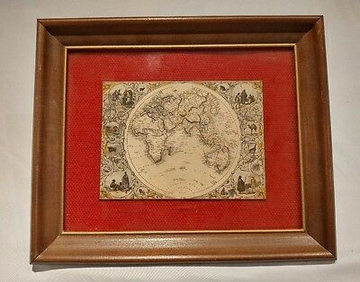 Antique Framed Color Map of Eastern Hemisphere Mounted on Wood