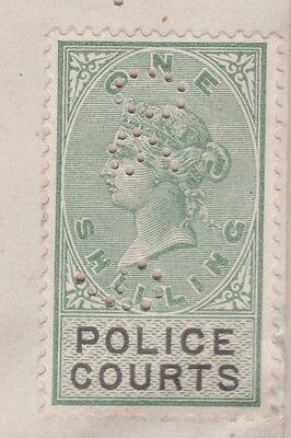 Great Britain 1890 Police Courts Certficate Frk. 1 Shilling Revenue Stamp