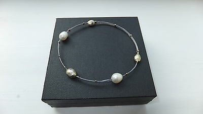 Sterling Silver 9ct Gold and Cultured Pearl Bangle Bracelet