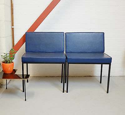 2 mid century chairs with metal structure | 2 vintage office chairs | minimal