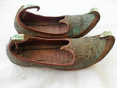 Antique Small Pair Chinese Eastern Embroidered & Tooled Shoes / Slippers (c)