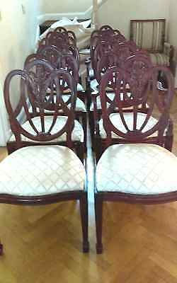 COMPLETE SET 12 Exquisitely Carved Antique Hepplewhite? 10 Dining Chairs + 2 Arm