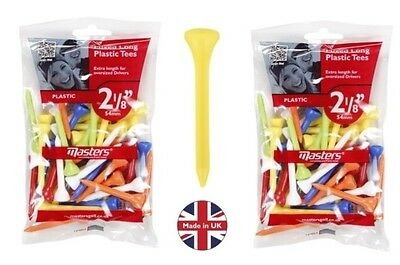 """Masters Mixed Plastic Golf Tees 2 1/8"""" (54mm) - 40 Pack x 2"""