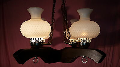 Vintage Early American Western 4 Light Chandelier Unique Plastic Hobnail Globes