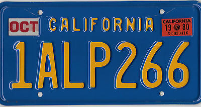 Beautiful Natural 1980 California Blue Gold License Plate # 1 Alp 266 Swiss Alps