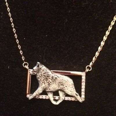 Two tone Rectangle Necklace with gaiting Dog~Schipperke