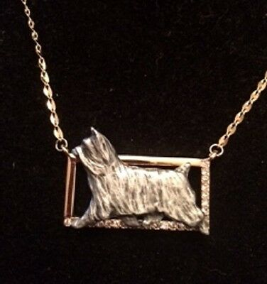 Two tone Rectangle Necklace with gaiting Dog~Silky Terrier~silkie
