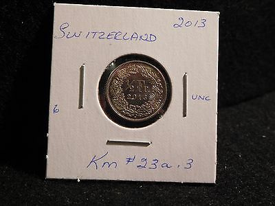 SWITZERLAND : 2013   1/2 FRANC   COIN    (UNC.)  (#27)  KM # 23a .3
