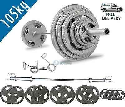 BodyRip Tri Grip Olympic 105kg Weight Set with 6FT Barbell and Collars Gym Fit