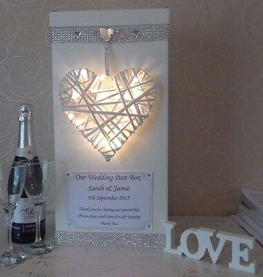 Wedding card post box personalised heart with LED lights diamante bling