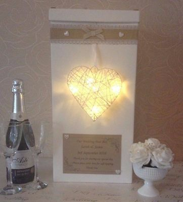 Wedding card post box personalised rattan heart with LED lights hessian shabby