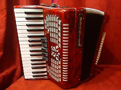 Used Hohner 1305-RED Hohnica 72 Bass 34-Key Entry Level Piano Accordion
