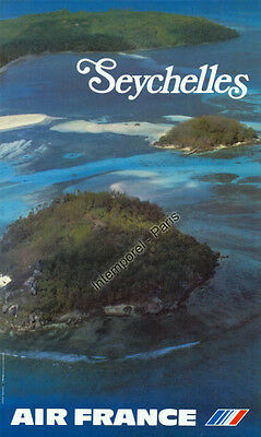 AFFICHE ORIGINALE AIR France SEYCHELLES, photo Boramy