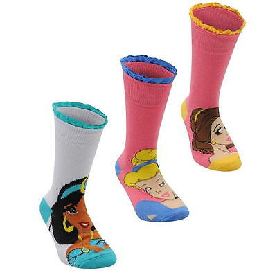 Disney Princess Girls Kids Childrens THREE Socks Jasmine Cinderella Belle