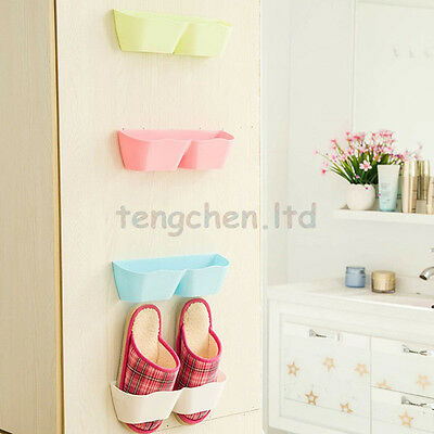 Wall Mounted  Sticky Hanging Shoes Storage Organizer Rack Holder Convinient