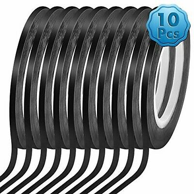 1/8'' 10 Pack Black Matte Tape Whiteboard Grid Tape Model, Art Tape Chart Tape