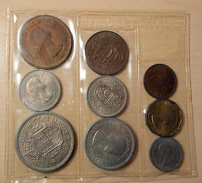 1953 9 Coin Set Coronation Year Farthing To Halfcrown In Sealed Package