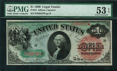 "1869 $1 Legal Tender FR-18 - ""RAINBOW NOTE"" - PMG 53 EPQ - About Uncirculated"