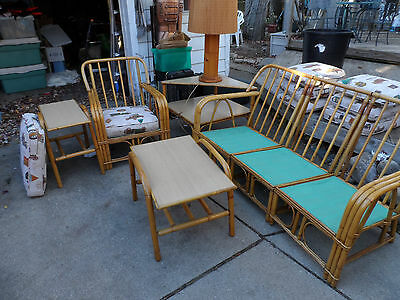 VINTAGE  RATTAN BAMBOO 8 PC.- 3 PC SOFA 3 tables -chair-lamp  BRASS FITTINGS